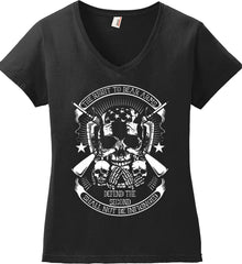 The Right to Bear Arms. Shall Not Be Infringed. Since 1791. White Print. Women's: Anvil Ladies' V-Neck T-Shirt.