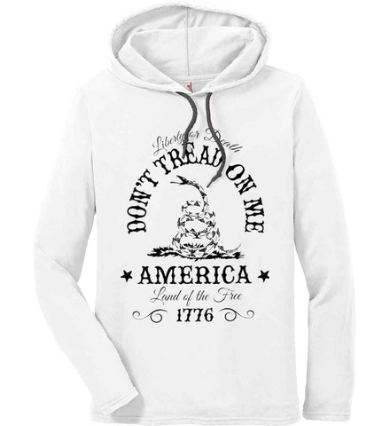 Don't Tread on Me. Liberty or Death. Land of the Free. Black Print. Anvil Long Sleeve T-Shirt Hoodie.