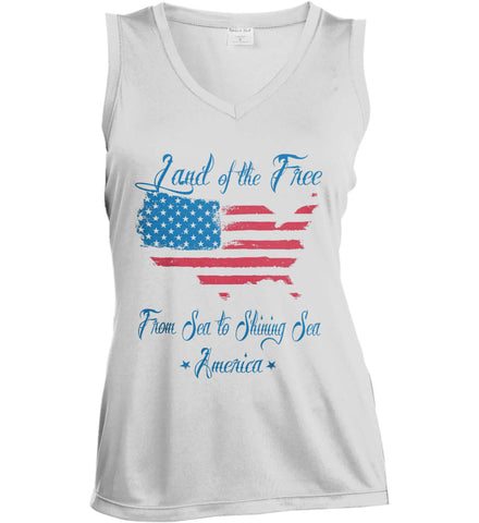 Land of the Free. From sea to shining sea. Women's: Sport-Tek Ladies' Sleeveless Moisture Absorbing V-Neck.