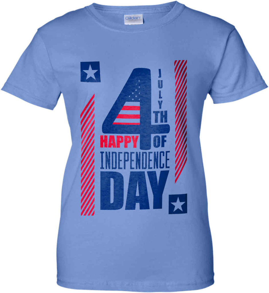 4th of July with Stars and Stripes. Women's: Gildan Ladies' 100% Cotton T-Shirt.-5
