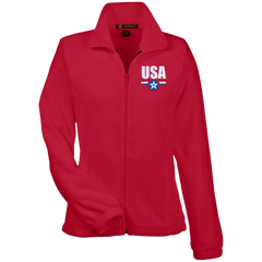 USA. Star-Shield. Red, White, Blue. Women's: Harriton Women's Fleece Jacket. (Embroidered)