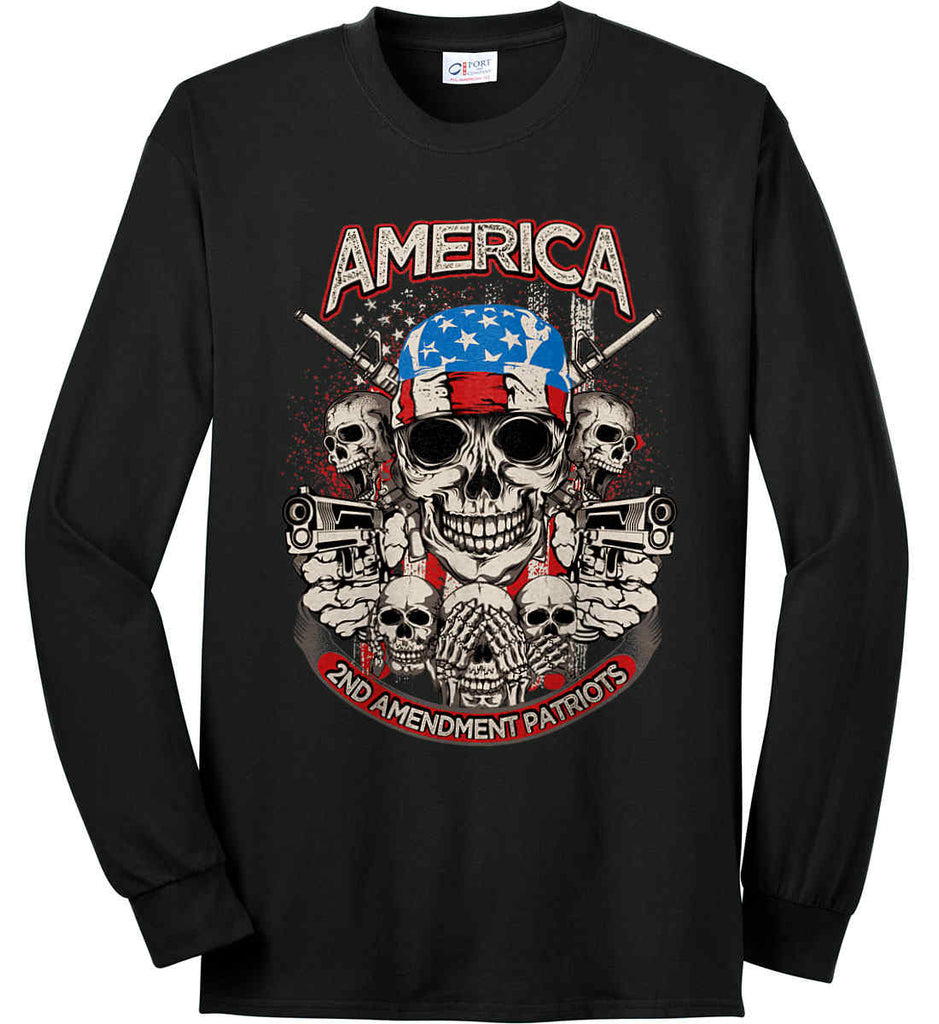 America. 2nd Amendment Patriots. Port & Co. Long Sleeve Shirt. Made in the USA..-1