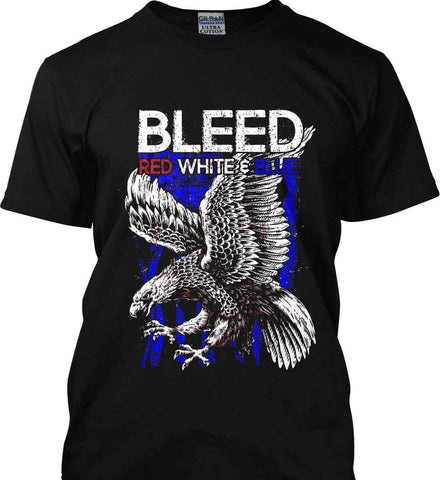 BLEED Red, White & Blue. Eagle on Flag. Gildan Ultra Cotton T-Shirt.