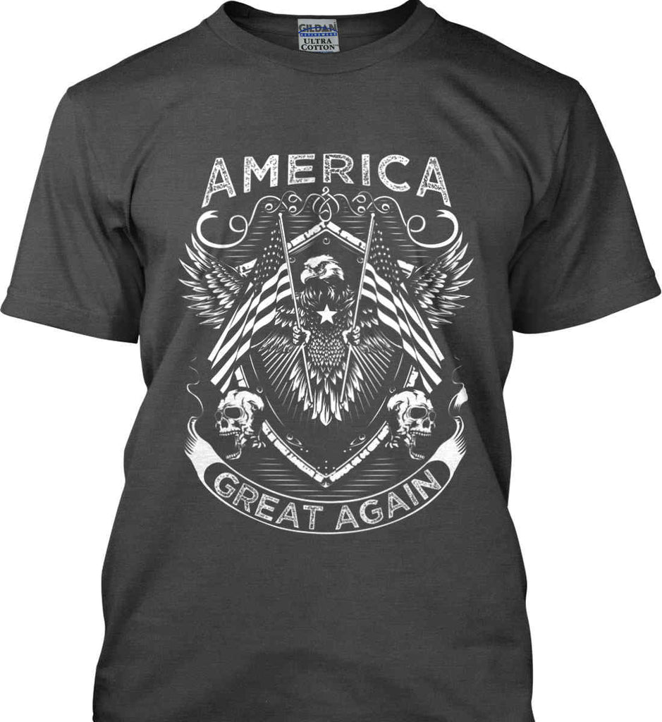 America. Great Again. White Print. Gildan Ultra Cotton T-Shirt.-1