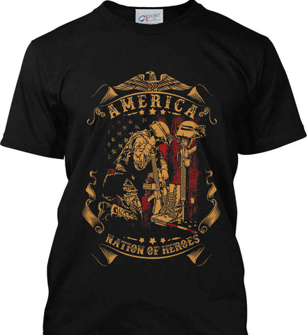 America A Nation of Heroes. Kneeling Soldier. Port & Co. Made in the USA T-Shirt.