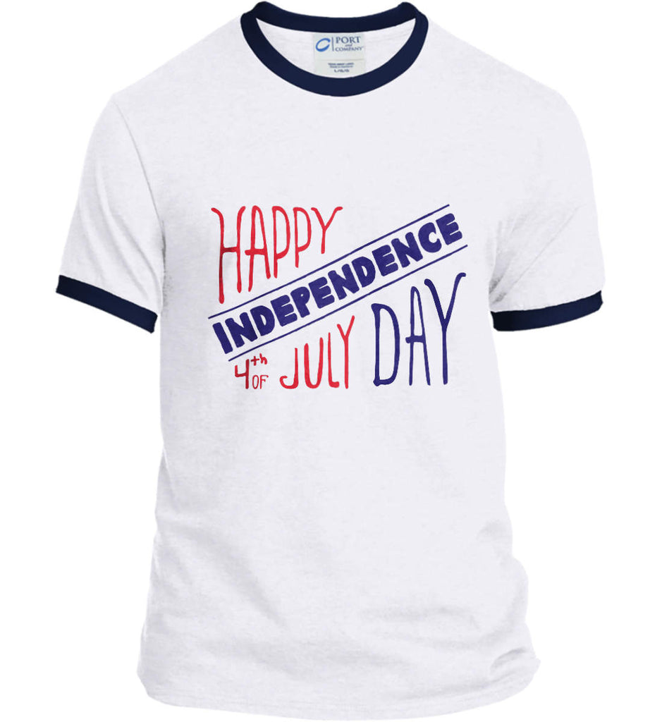 Happy Independence Day. 4th of July. Port and Company Ringer Tee.-3