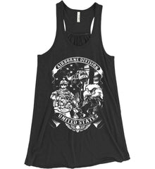 Airborne Division. United States. White Print. Women's: Bella + Canvas Flowy Racerback Tank.