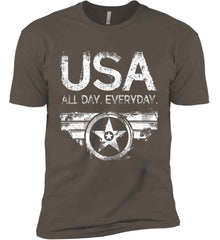 USA All Day Everyday. White Print. Next Level Premium Short Sleeve T-Shirt.