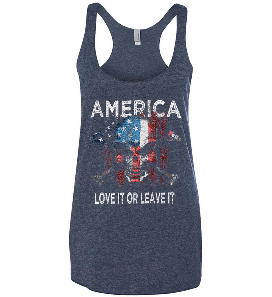 America. Love It or Leave It. Women's: Next Level Ladies Ideal Racerback Tank.-1