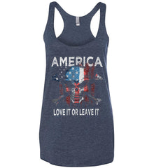 America. Love It or Leave It. Women's: Next Level Ladies Ideal Racerback Tank.