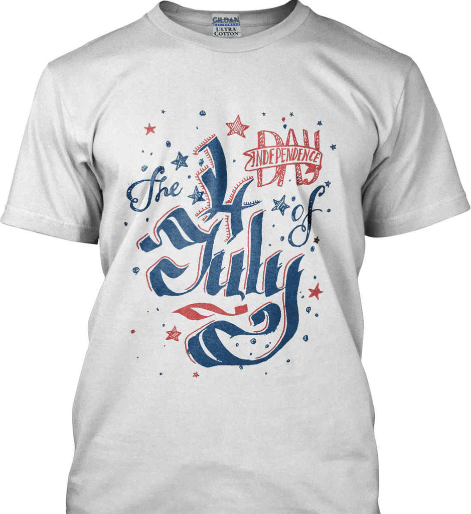 The 4th of July. Ribbon Script. Gildan Tall Ultra Cotton T-Shirt.-2