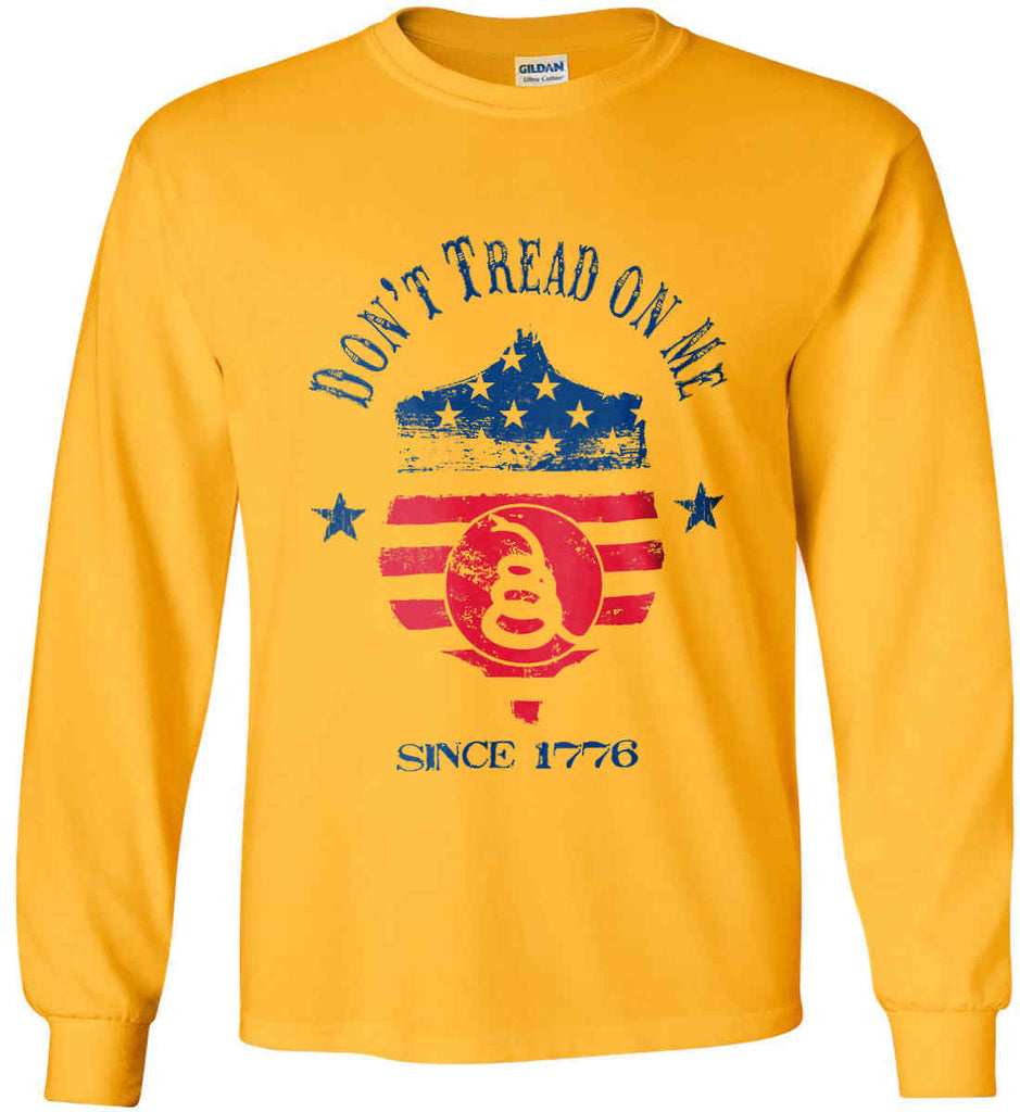 Don't Tread on Me. Snake on Shield. Red, White and Blue. Gildan Ultra Cotton Long Sleeve Shirt.-4