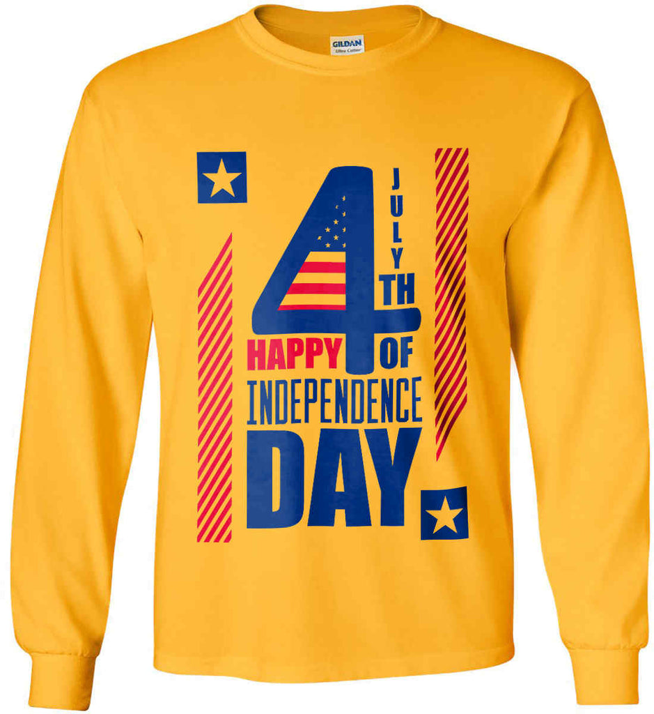 4th of July with Stars and Stripes. Gildan Ultra Cotton Long Sleeve Shirt.-4