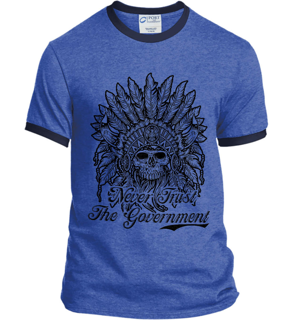 Skeleton Indian. Never Trust the Government. Port and Company Ringer Tee.-7