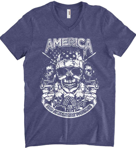 America. 2nd Amendment Patriots. White Print. Anvil Men's Printed V-Neck T-Shirt.