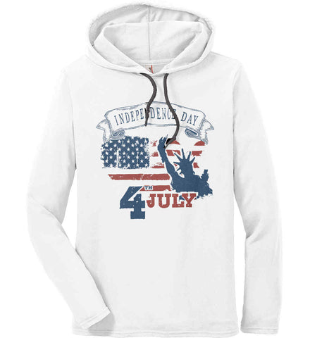 4th of July. Faded Grunge. Statue of Liberty. Anvil Long Sleeve T-Shirt Hoodie.