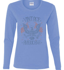 Vintage Americana Faded Grunge Women's: Gildan Ladies Cotton Long Sleeve Shirt.