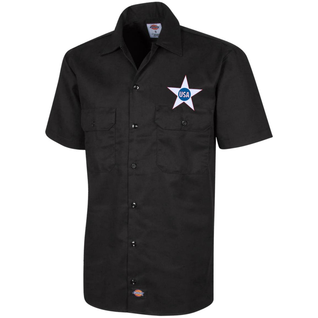 USA. Inside Star. Red, White and Blue. Dickies Men's Short Sleeve Workshirt. (Embroidered)-2