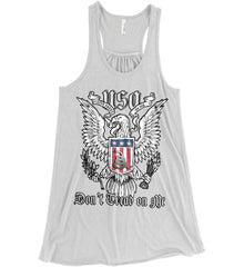 Don't Tread on Me. Eagle with Shield and Rattlesnake. Women's: Bella + Canvas Flowy Racerback Tank.