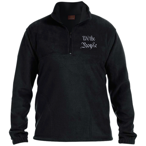 We the People. White Text. Harriton 1/4 Zip Fleece Pullover. (Embroidered)