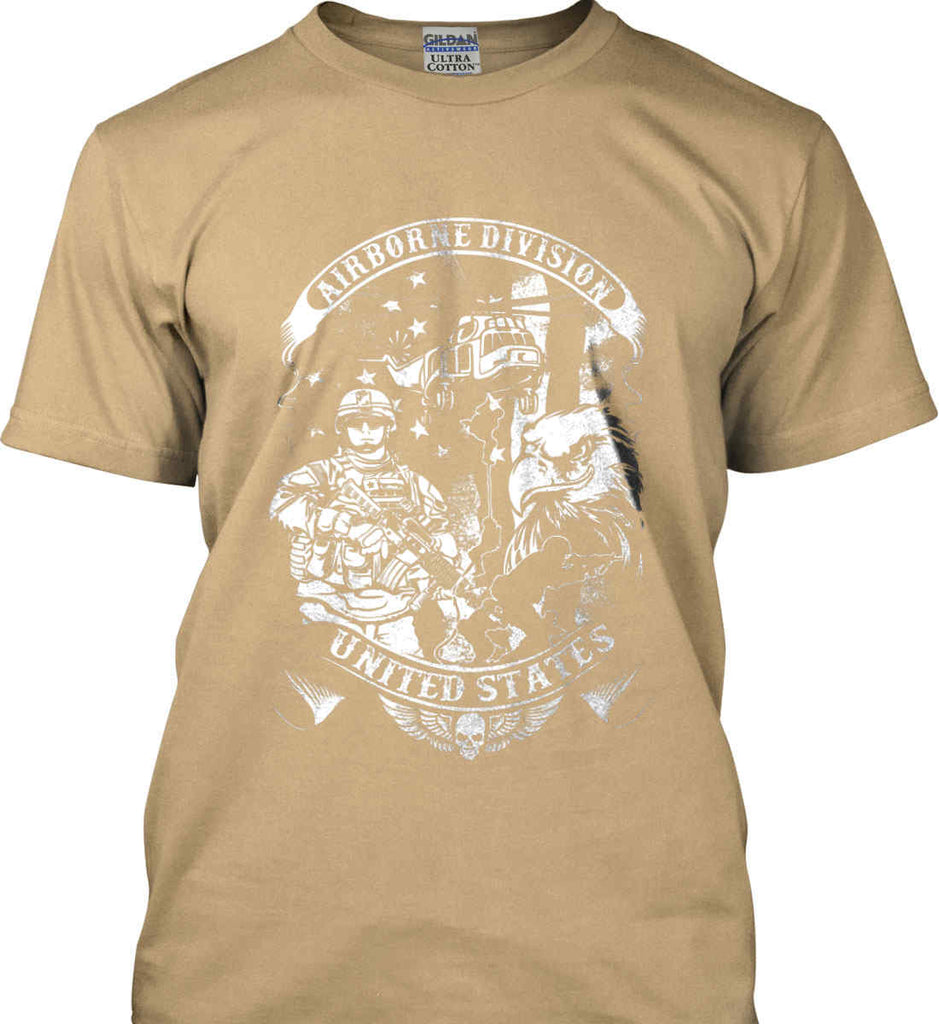 Airborne Division. United States. White Print. Gildan Ultra Cotton T-Shirt.-5