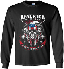 Did you America Today. 1776. Live Free or Die. Skull. Gildan Ultra Cotton Long Sleeve Shirt.