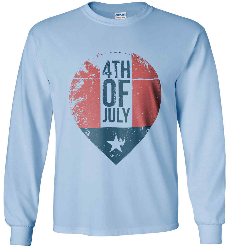 4th of July with Star. Gildan Ultra Cotton Long Sleeve Shirt.-5