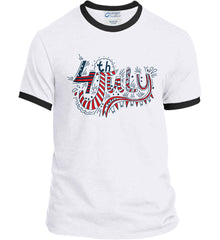 July 4th Red, White and Blue. Port and Company Ringer Tee.