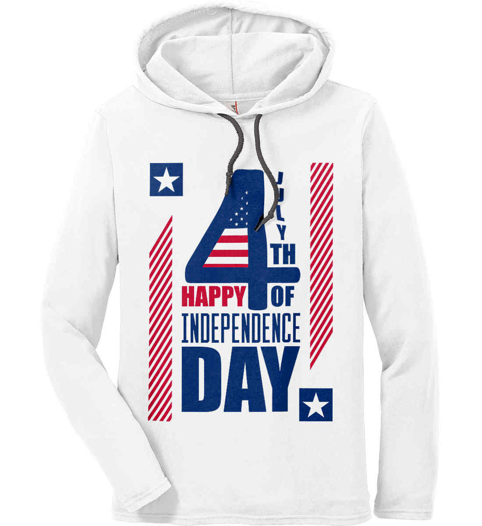 4th of July with Stars and Stripes. Anvil Long Sleeve T-Shirt Hoodie.-1