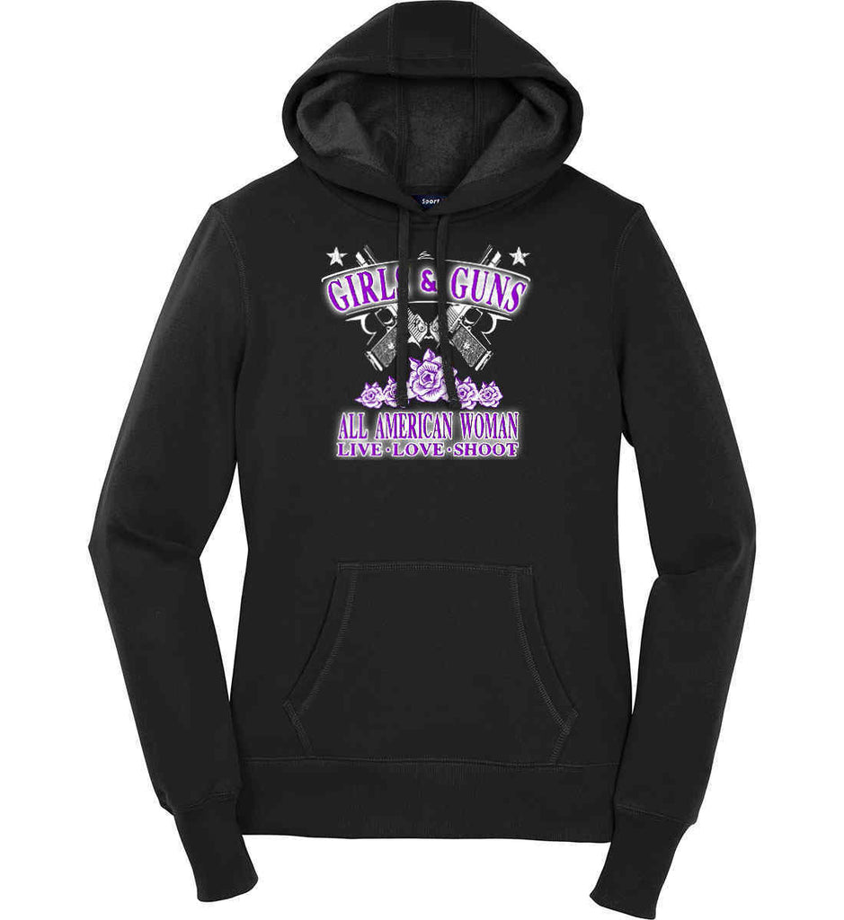 Girls and Guns. All American Woman. Live Love Shoot. Purple Print. Women's: Sport-Tek Ladies Pullover Hooded Sweatshirt.-1