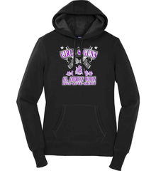 Girls and Guns. All American Woman. Live Love Shoot. Purple Print. Women's: Sport-Tek Ladies Pullover Hooded Sweatshirt.