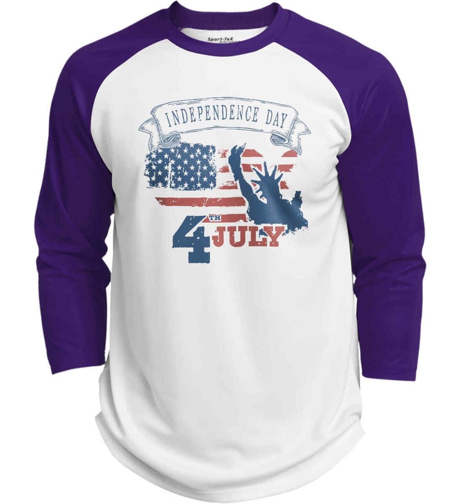 4th of July. Faded Grunge. Statue of Liberty. Sport-Tek Polyester Game Baseball Jersey.-3