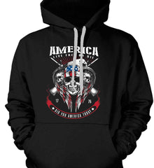 Did you America Today. 1776. Live Free or Die. Skull. Gildan Heavyweight Pullover Fleece Sweatshirt.