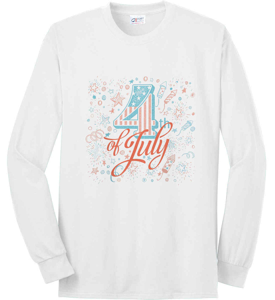 4th of July. Stars and Rockets. Port & Co. Long Sleeve Shirt. Made in the USA..-1