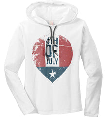 4th of July with Star. Women's: Anvil Ladies' Long Sleeve T-Shirt Hoodie.