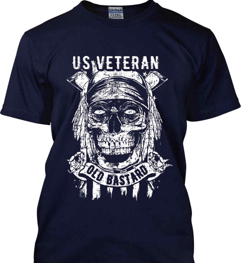 US Veteran. Skull on Flag. White Print. Gildan Ultra Cotton T-Shirt.-7
