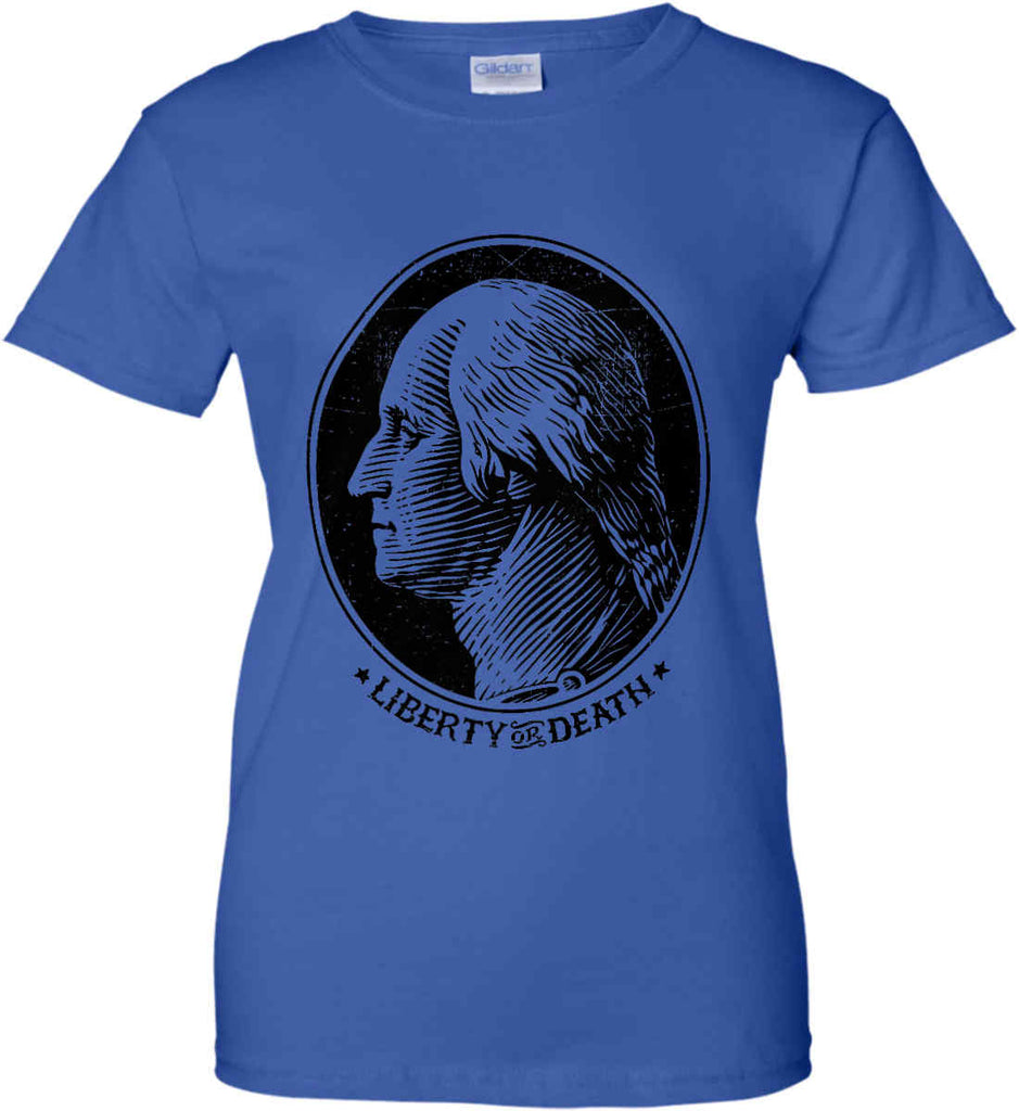 George Washington Liberty or Death. Black Print Women's: Gildan Ladies' 100% Cotton T-Shirt.-13