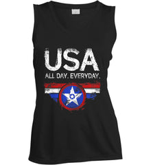 USA All Day Everyday. Women's: Sport-Tek Ladies' Sleeveless Moisture Absorbing V-Neck.