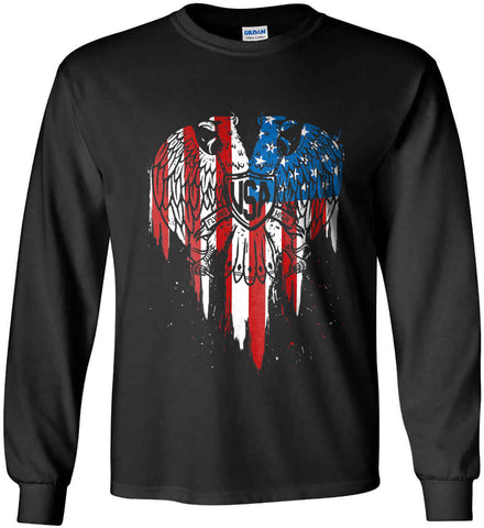 USA Eagle Flying High. Gildan Ultra Cotton Long Sleeve Shirt.