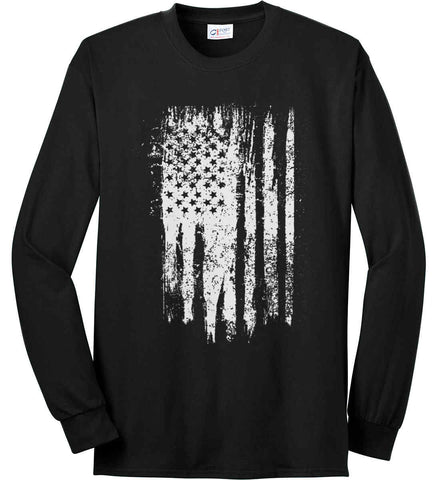 Grungy Grey USA Flag Port & Co. Long Sleeve Shirt. Made in the USA..