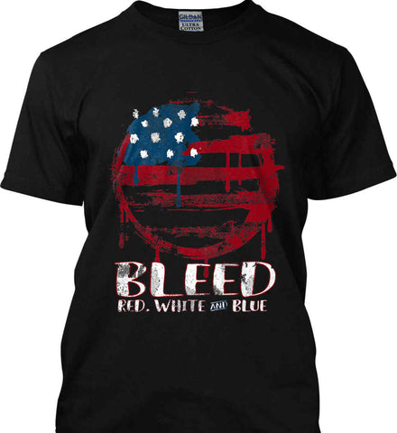 BLEED Red, White and Blue Circle Flag. Gildan Ultra Cotton T-Shirt.