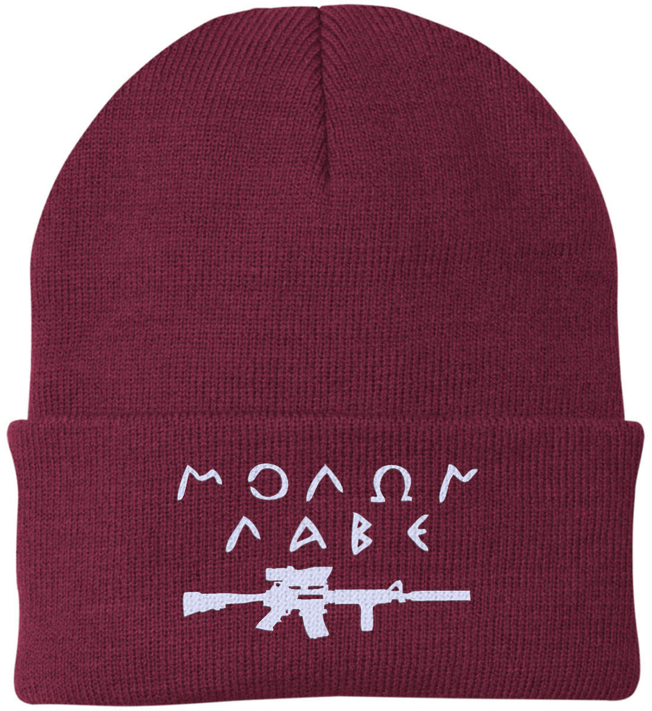 Molon Labe Rifle Hat. Port Authority Knit Cap. (Embroidered)-4