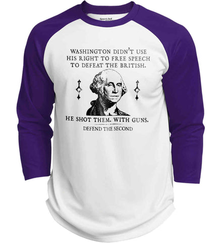 Washington didn't use his right to free speech to defeat the British. He shot them. With guns. Black Print. Sport-Tek Polyester Game Baseball Jersey.