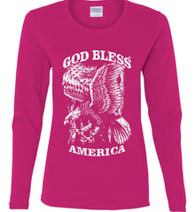 God Bless America. Eagle on Flag. White Print. Women's: Gildan Ladies Cotton Long Sleeve Shirt.