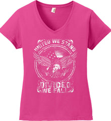 United We Stand. Divided We Fall. White Print. Women's: Anvil Ladies' V-Neck T-Shirt.