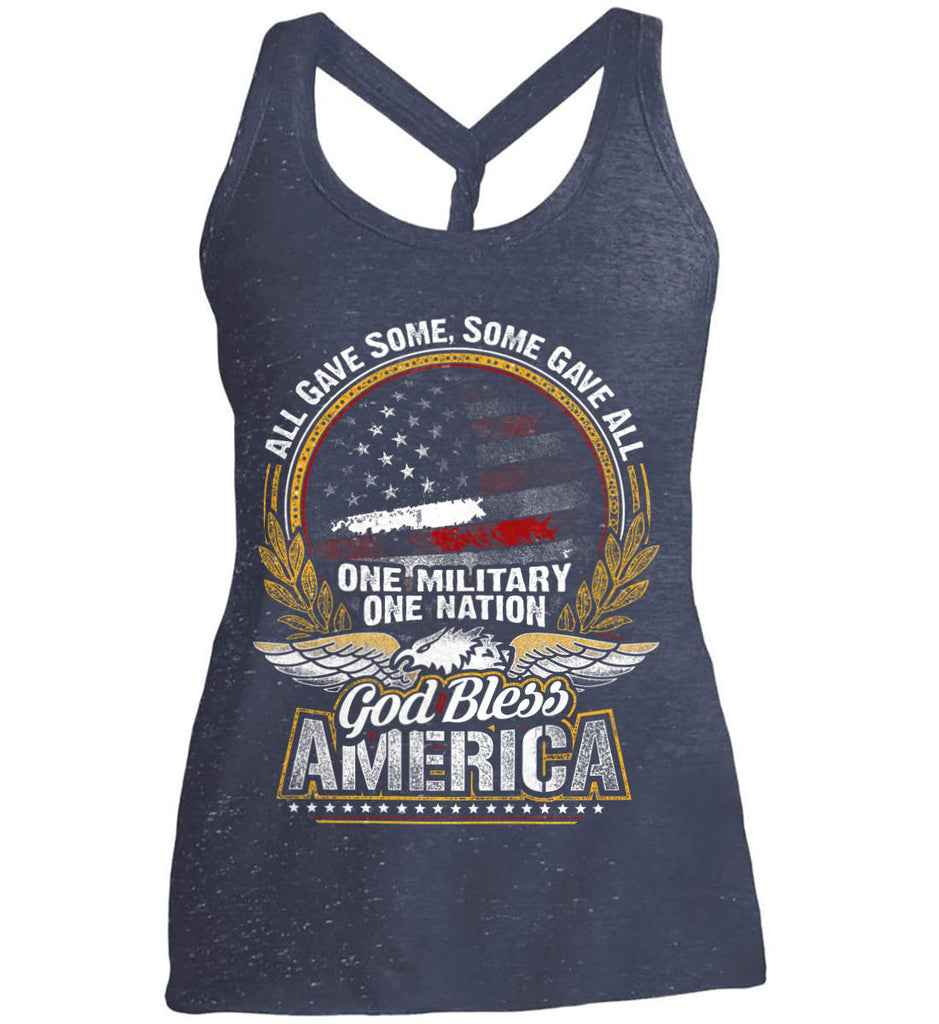 All Gave Some, Some Gave All. God Bless America. Women's: District Made Ladies Cosmic Twist Back Tank.-2