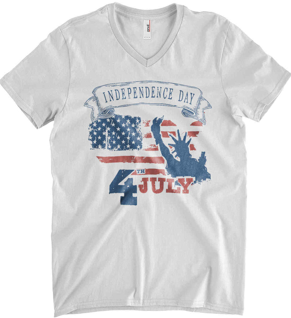 4th of July. Faded Grunge. Statue of Liberty. Anvil Men's Printed V-Neck T-Shirt.-1