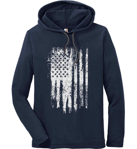 Grungy Grey USA Flag Anvil Long Sleeve T-Shirt Hoodie.