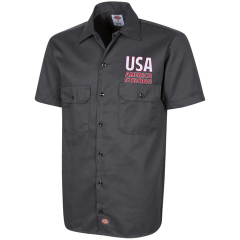 America Strong. White/Red. Dickies Men's Short Sleeve Workshirt. (Embroidered)