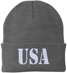 USA Patriot Hat Port Authority Knit Cap. (Embroidered)